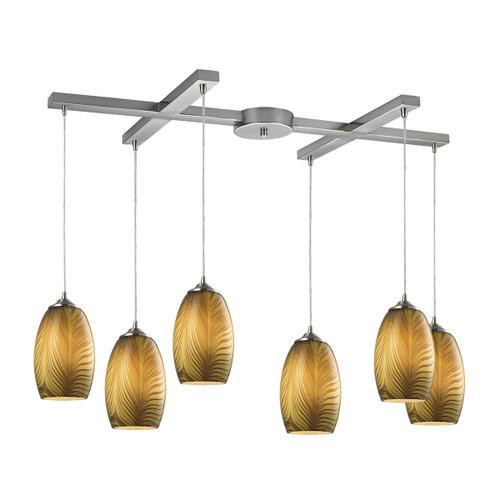 ELK Lighting 31630/6 Tidewaters 6-Light H-Bar Pendant Fixture in Satin Nickel with Amber Glass