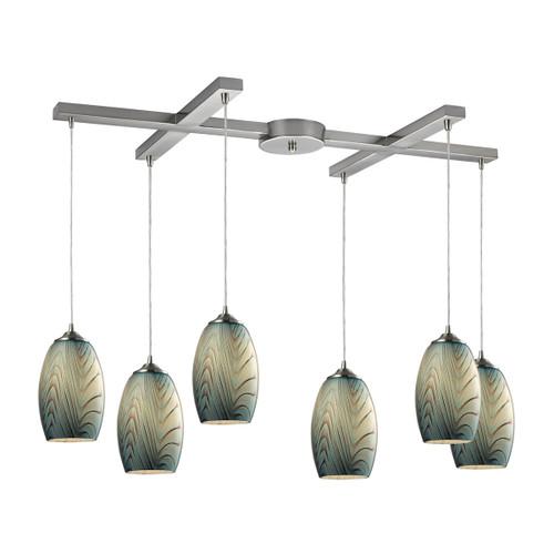 ELK Lighting 31620/6 Tidewaters 6-Light H-Bar Pendant Fixture in Satin Nickel with Seafoam Glass