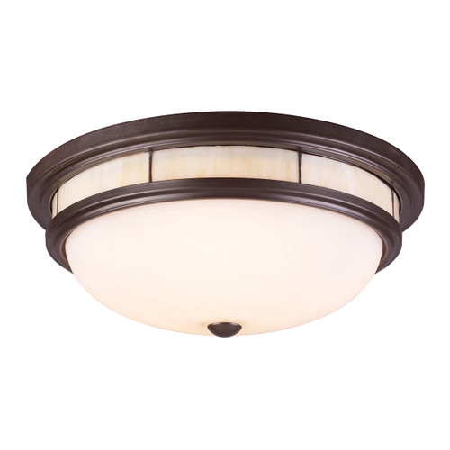 ELK Lighting 70014-3 Tiffany 3-Light Flush Mount in Oiled Bronze with Glass Shade and Panels