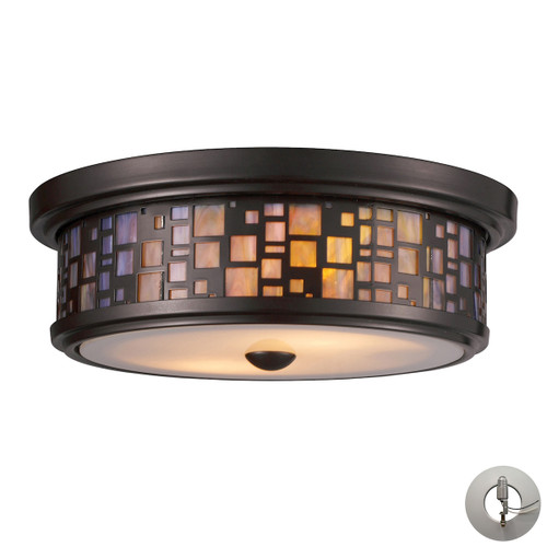 ELK Lighting 70027-2-LA Tiffany 2-Light Flush Mount in Oiled Bronze with Mosaic Tea-stained Glass - Includes Adapter Kit