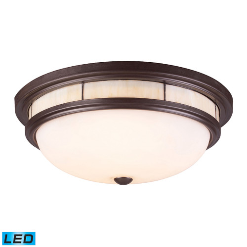 ELK Lighting 70014-3-LED Tiffany 3-Light Flush Mount in Oiled Bronze with Glass Shade and Panels - Includes LED Bulbs