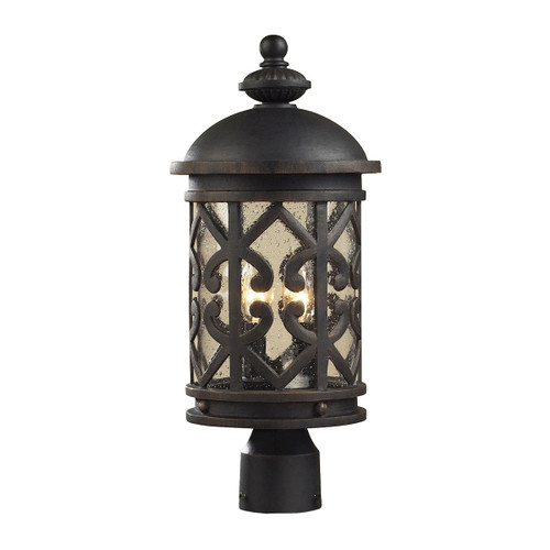 ELK Lighting 42064/2 Tuscany Coast 2-Light Outdoor Post Mount in Weathered Charcoal