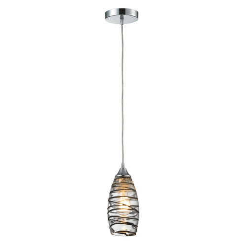 ELK Lighting 31338/1VINW Twister 1-Light Mini Pendant in Polished Chrome with Sculpted Glass