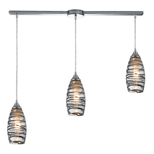 ELK Lighting 31338/3L-VINW Twister 3-Light Linear Pendant Fixture in Polished Chrome with Sculpted Glass