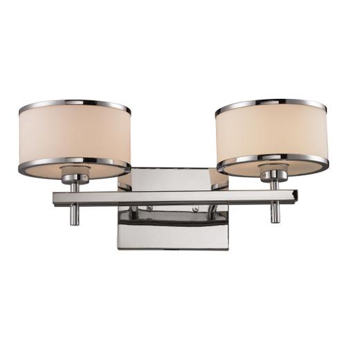 ELK Lighting 11416/2 Utica 2-Light Vanity Lamp in Polished Chrome with White Blown Glass