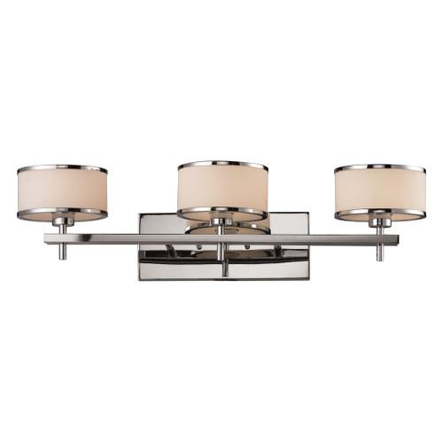 ELK Lighting 11417/3 Utica 3-Light Vanity Lamp in Polished Chrome with White Blown Glass