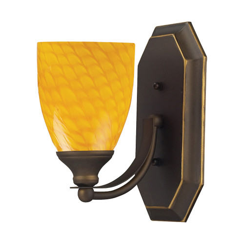 ELK Lighting 570-1B-CN Mix-N-Match Vanity 1-Light Wall Lamp in Aged Bronze with Canary Glass