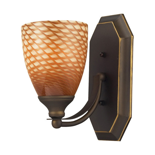 ELK Lighting 570-1B-C Mix-N-Match Vanity 1-Light Wall Lamp in Aged Bronze with Cocoa Glass