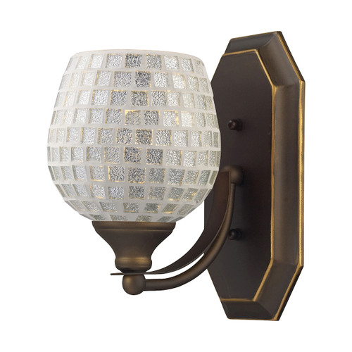 ELK Lighting 570-1B-SLV Mix-N-Match Vanity 1-Light Wall Lamp in Aged Bronze with Silver Glass
