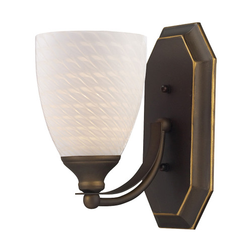 ELK Lighting 570-1B-WS Mix-N-Match Vanity 1-Light Wall Lamp in Aged Bronze with White Swirl Glass