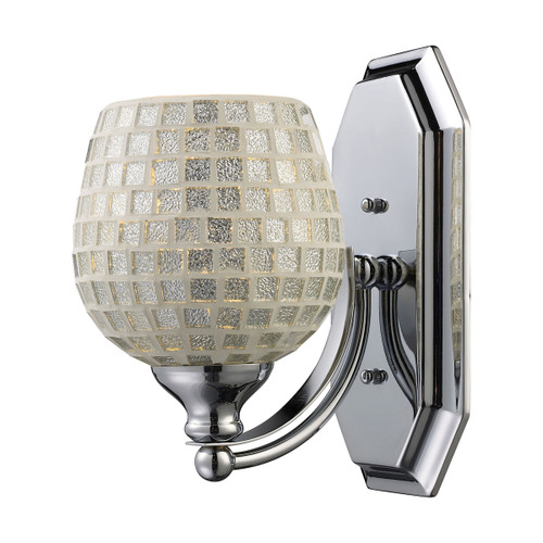 ELK Lighting 570-1C-SLV Mix and Match Vanity 1-Light Wall Lamp in Chrome with Silver Glass