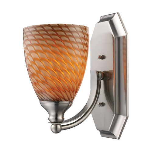ELK Lighting 570-1N-C Mix-N-Match Vanity 1-Light Wall Lamp in Satin Nickel with Cocoa Glass