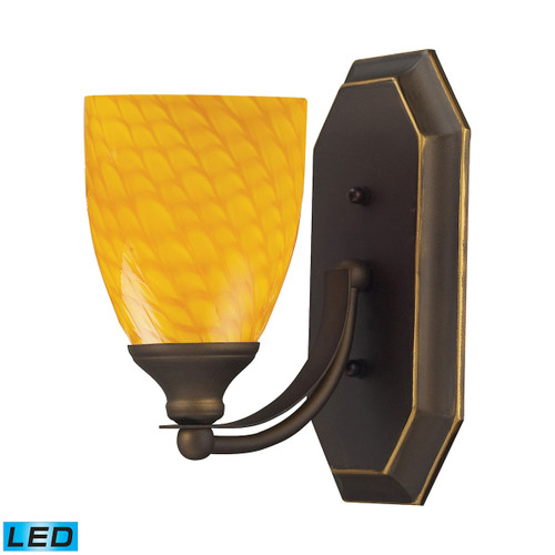 ELK Lighting 570-1B-CN-LED Mix-N-Match Vanity 1-Light Wall Lamp in Aged Bronze with Canary Glass - Includes LED Bulb