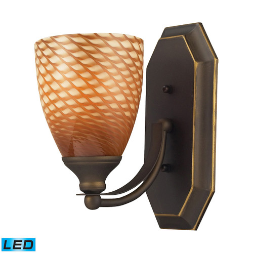ELK Lighting 570-1B-C-LED Mix-N-Match Vanity 1-Light Wall Lamp in Aged Bronze with Cocoa Glass - Includes LED Bulb