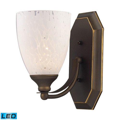 ELK Lighting 570-1B-SW-LED Mix-N-Match Vanity 1-Light Wall Lamp in Aged Bronze with Snow White Glass - Includes LED Bulb