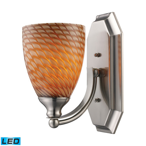 ELK Lighting 570-1N-C-LED Mix-N-Match Vanity 1-Light Wall Lamp in Satin Nickel with Cocoa Glass - Includes LED Bulb