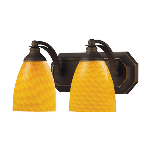 ELK Lighting 570-2B-CN Mix-N-Match Vanity 2-Light Wall Lamp in Aged Bronze with Canary Glass