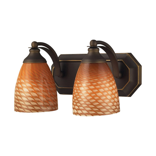 ELK Lighting 570-2B-C Mix-N-Match Vanity 2-Light Wall Lamp in Aged Bronze with Cocoa Glass