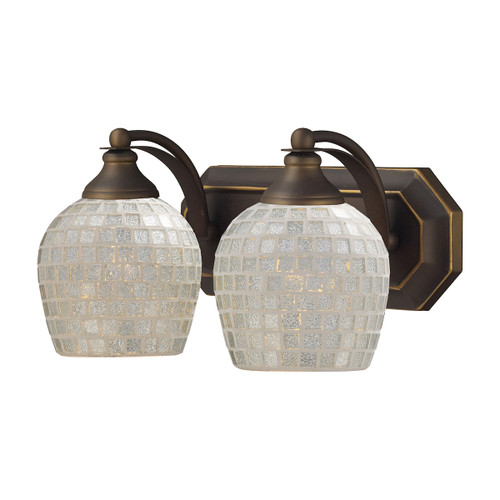 ELK Lighting 570-2B-SLV Mix-N-Match Vanity 2-Light Wall Lamp in Aged Bronze with Silver Glass
