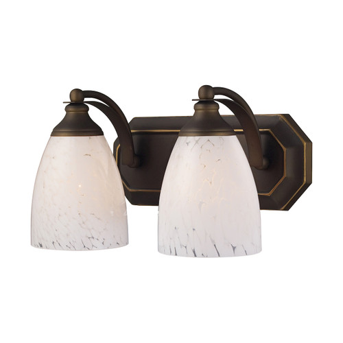 ELK Lighting 570-2B-SW Mix-N-Match Vanity 2-Light Wall Lamp in Aged Bronze with Snow White Glass