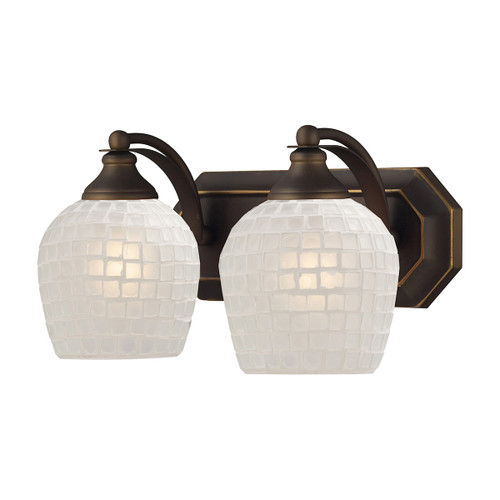 ELK Lighting 570-2B-WHT Mix-N-Match Vanity 2-Light Wall Lamp in Aged Bronze with White Glass