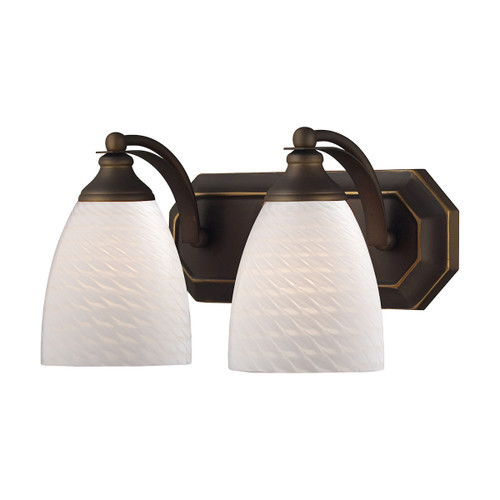 ELK Lighting 570-2B-WS Mix-N-Match Vanity 2-Light Wall Lamp in Aged Bronze with White Swirl Glass