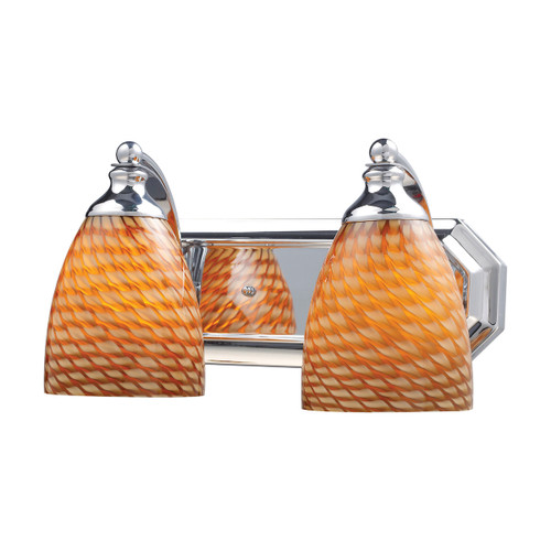 ELK Lighting 570-2C-C Mix and Match Vanity 2-Light Wall Lamp in Chrome with Cocoa Glass