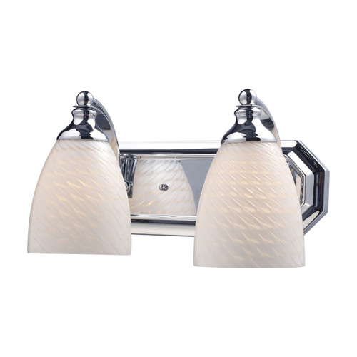 ELK Lighting 570-2C-WS Mix and Match Vanity 2-Light Wall Lamp in Chrome with White Swirl Glass