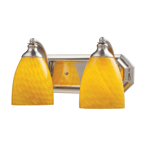 ELK Lighting 570-2N-CN Mix-N-Match Vanity 2-Light Wall Lamp in Satin Nickel with Canary Glass