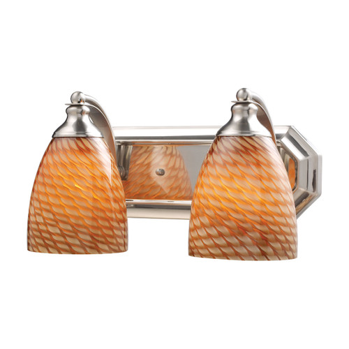 ELK Lighting 570-2N-C Mix-N-Match Vanity 2-Light Wall Lamp in Satin Nickel with Cocoa Glass