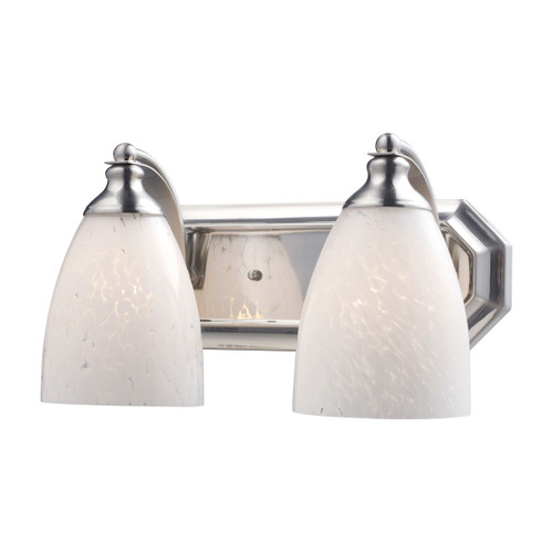 ELK Lighting 570-2N-SW Mix-N-Match Vanity 2-Light Wall Lamp in Satin Nickel with Snow White Glass