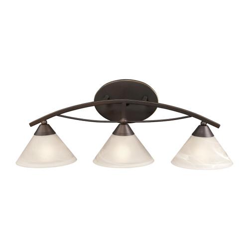 ELK Lighting 17642/3 Elysburg 3-Light Vanity Lamp in Oil Rubbed Bronze with White Marbleized Glass