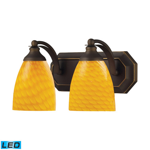 ELK Lighting 570-2B-CN-LED Mix-N-Match Vanity 2-Light Wall Lamp in Aged Bronze with Canary Glass - Includes LED Bulbs