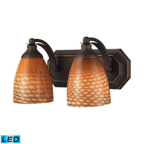 ELK Lighting 570-2B-C-LED Mix-N-Match Vanity 2-Light Wall Lamp in Aged Bronze with Cocoa Glass - Includes LED Bulbs