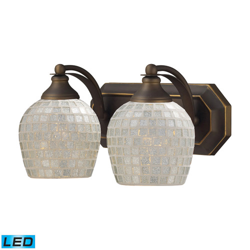 ELK Lighting 570-2B-SLV-LED Mix-N-Match Vanity 2-Light Wall Lamp in Aged Bronze with Silver Glass - Includes LED Bulbs