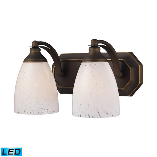 ELK Lighting 570-2B-SW-LED Mix-N-Match Vanity 2-Light Wall Lamp in Aged Bronze with Snow White Glass - Includes LED Bulbs