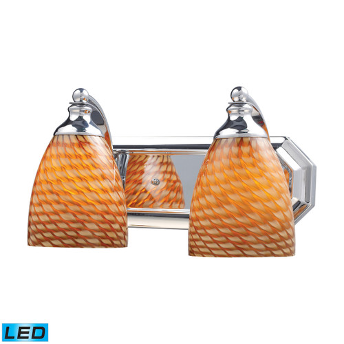 ELK Lighting 570-2C-C-LED Mix and Match Vanity 2-Light Wall Lamp in Chrome with Cocoa Glass - Includes LED Bulbs