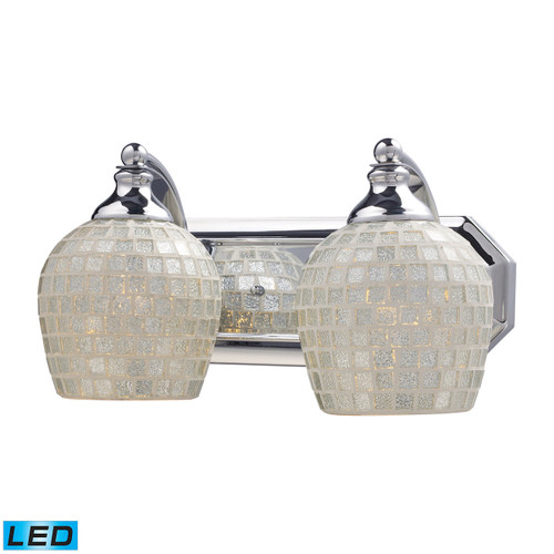 ELK Lighting 570-2C-SLV-LED Mix and Match Vanity 2-Light Wall Lamp in Chrome with Silver Glass - Includes LED Bulbs