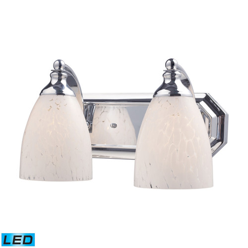 ELK Lighting 570-2C-SW-LED Mix and Match Vanity 2-Light Wall Lamp in Chrome with Snow White Glass - Includes LED Bulbs