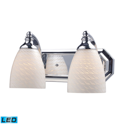 ELK Lighting 570-2C-WS-LED Mix and Match Vanity 2-Light Wall Lamp in Chrome with White Swirl Glass - Includes LED Bulbs