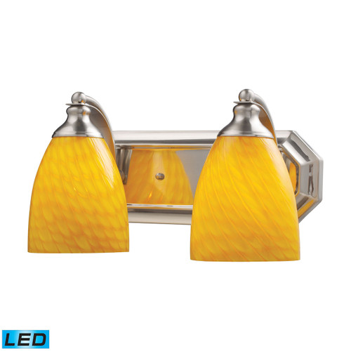 ELK Lighting 570-2N-CN-LED Mix-N-Match Vanity 2-Light Wall Lamp in Satin Nickel with Canary Glass - Includes LED Bulbs