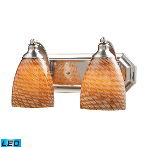 ELK Lighting 570-2N-C-LED Mix-N-Match Vanity 2-Light Wall Lamp in Satin Nickel with Cocoa Glass - Includes LED Bulbs