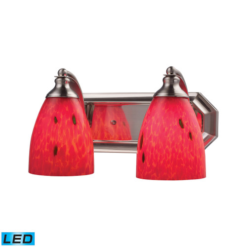 ELK Lighting 570-2N-FR-LED Mix-N-Match Vanity 2-Light Wall Lamp in Satin Nickel with Fire Red Glass - Includes LED Bulbs