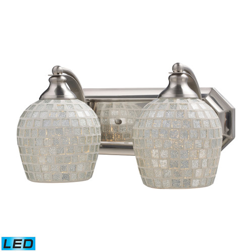 ELK Lighting 570-2N-SLV-LED Mix-N-Match Vanity 2-Light Wall Lamp in Satin Nickel with Silver Glass - Includes LED Bulbs