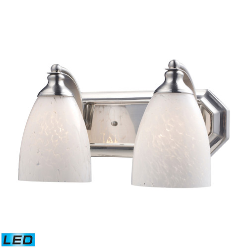 ELK Lighting 570-2N-SW-LED Mix-N-Match Vanity 2-Light Wall Lamp in Satin Nickel with Snow White Glass - Includes LED Bulbs