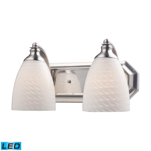 ELK Lighting 570-2N-WS-LED Mix-N-Match Vanity 2-Light Wall Lamp in Satin Nickel with White Swirl Glass - Includes LED Bulbs