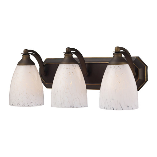 ELK Lighting 570-3B-SW Mix-N-Match Vanity 3-Light Wall Lamp in Aged Bronze with Snow White Glass