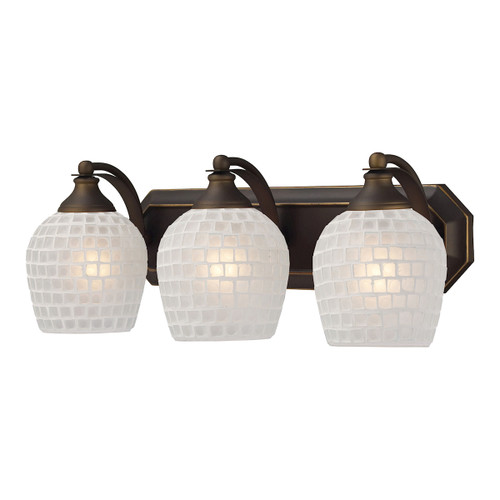 ELK Lighting 570-3B-WHT Mix-N-Match Vanity 3-Light Wall Lamp in Aged Bronze with White Glass