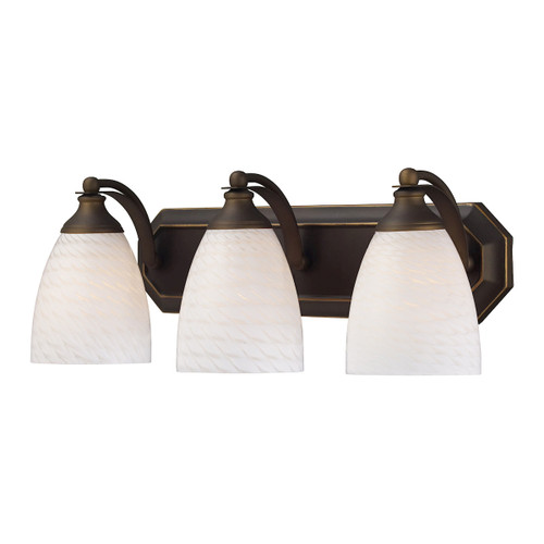 ELK Lighting 570-3B-WS Mix-N-Match Vanity 3-Light Wall Lamp in Aged Bronze with White Swirl Glass