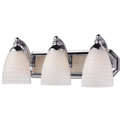 ELK Lighting 570-3C-WS Mix and Match Vanity 3-Light Wall Lamp in Chrome with White Swirl Glass
